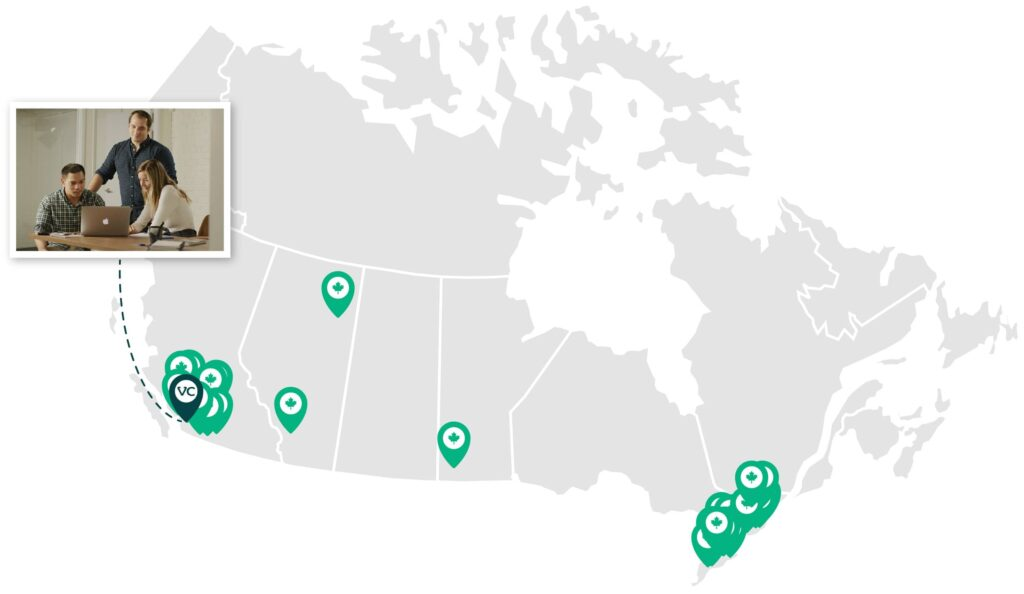 Proudly Canadian-VetCare Practices Map